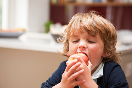 Young boy eating an apple LANG_EVOIMAGES