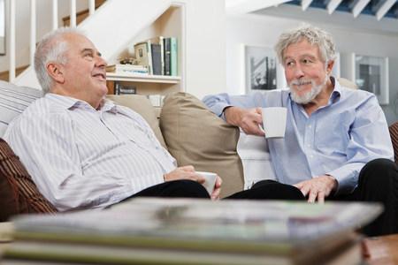 tea breaks: Senior male friends having coffee and chat
