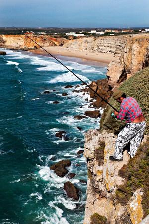 Cliff top fishing,fortaleza,sagres,portugal