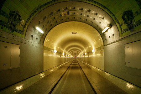 lit image: Inside Old Elbe Tunnel,Hamburg,Germany