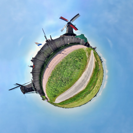 panoramas: Windmills of Zaanse Schans,Netherlands,little planet effect LANG_EVOIMAGES