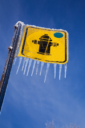 Fire hydrant sign and icicles