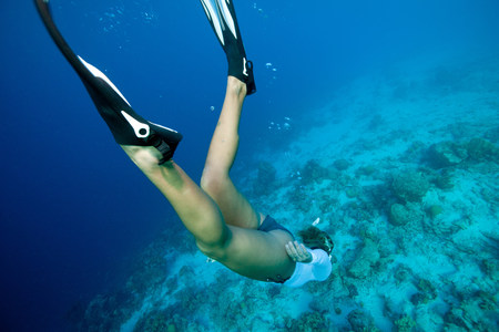 free diver: Freediver heads to the bottom LANG_EVOIMAGES