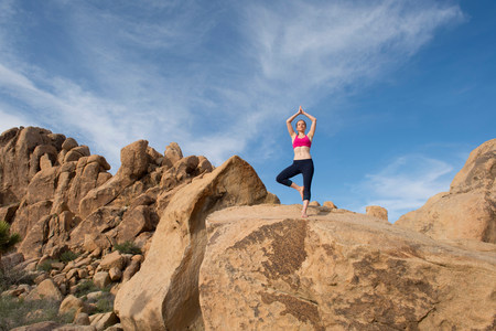 Young woman in tree pose on desert rocks LANG_EVOIMAGES