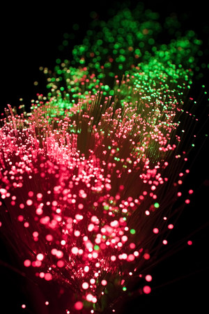 lit image: Fibre optics,close up