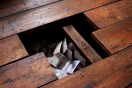 Money under floorboards