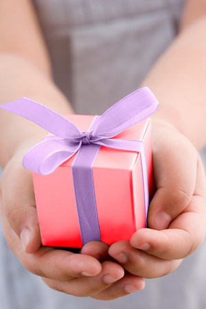 Girl holding a small gift LANG_EVOIMAGES