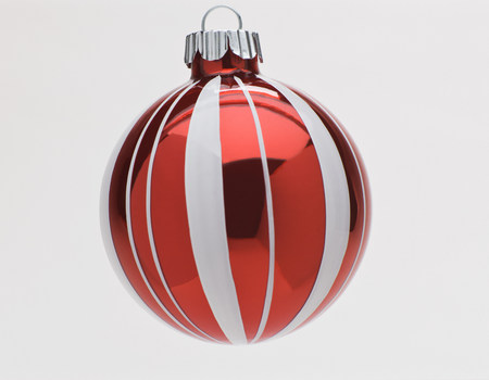 Red and white Christmas bauble,studio shot