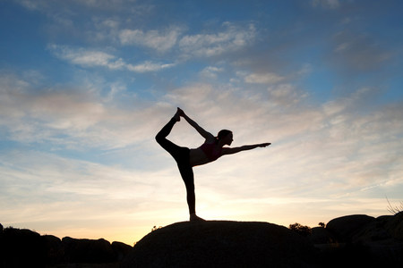 joshua: Young woman in dancer pose in desert,silhouette