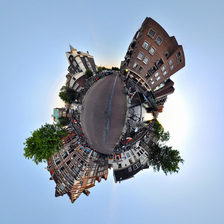 Lijnbaansgracht canal,Amsterdam,little planet effect
