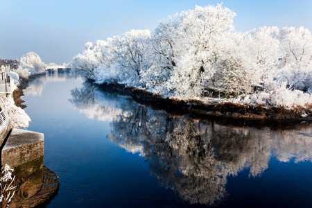 mirroring: River shannon in winter,munster,limerick,ireland
