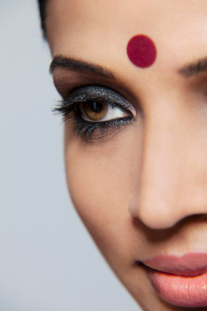 20 25 years old: Close-up of a beautiful woman with a bindi