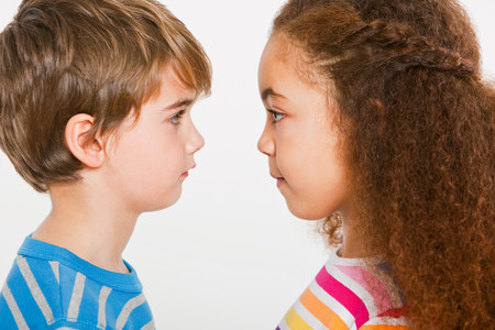 Boy and girl face to face