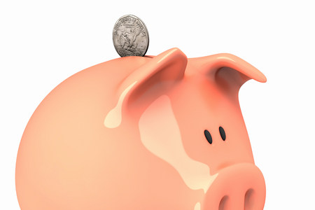 Piggy bank and dollar coin