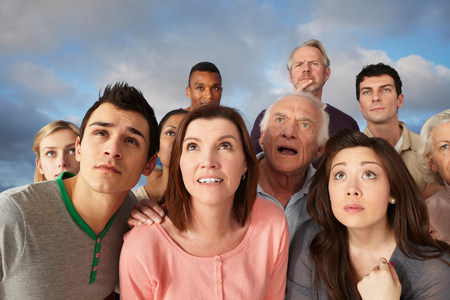 age 25 30 years: Group of people looking up