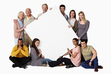 age 25 30 years: Group of people holding blank notice board