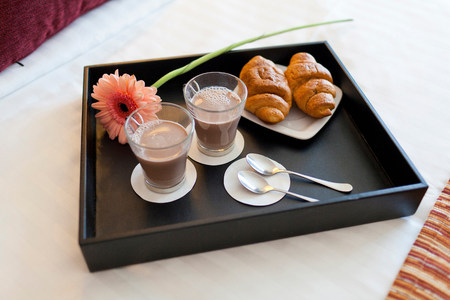 one sheet: Breakfast tray with coffee and criossants