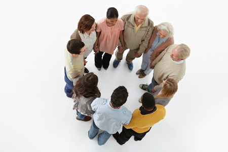 25 35: Group of people in a circle,high angle view
