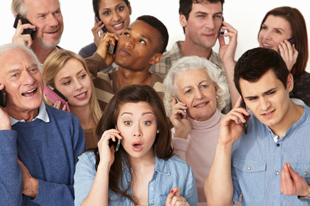 50 54 years: Group of people on cell phones LANG_EVOIMAGES