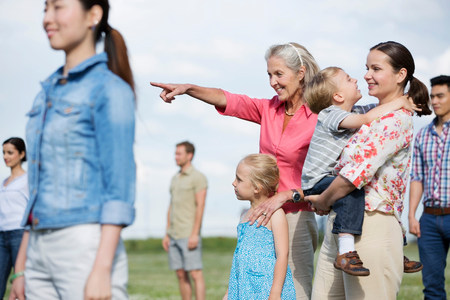 3 4 years: Group of people outdoors,focus on senior woman and family LANG_EVOIMAGES