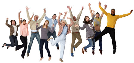 age 25 30 years: Group of people jumping,studio shot