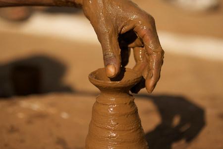Close up of potter at work in Orchha,Madhya Pradesh,India