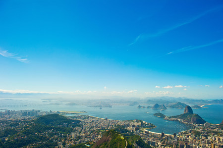 travel features: Aerial view over Rio de Janeiro and Guanabara Bay,Brazil LANG_EVOIMAGES