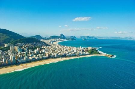 Aerial view of Ipanema and Copacabana beaches,Rio de Janeiro,Brazil
