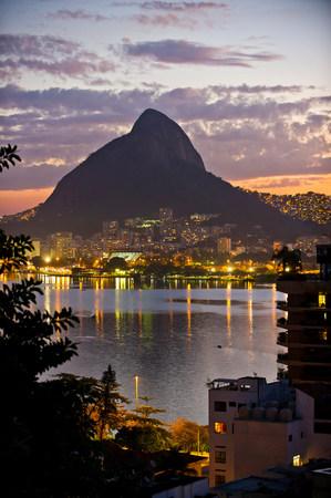 City lights,Lagoa and Morro Dois Irmaos,Rio de Janeiro,Brazil