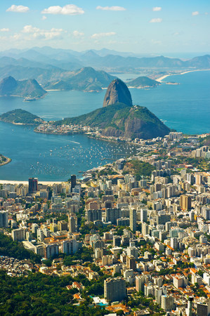 Aerial view of Rio de Janeiro cityscape and Sugarloaf Mountain,Brazil LANG_EVOIMAGES