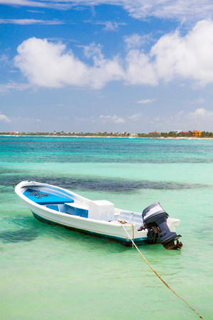 abandon: Motor boat on water in Akumal,Quintana Roo,Mexico