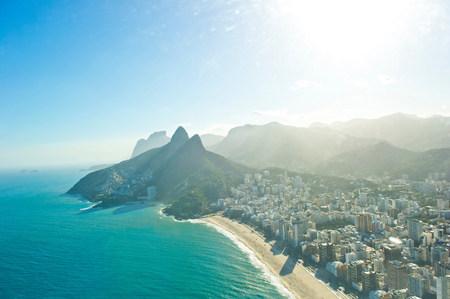 Aerial view of Ipanema Beach and Morro Dois Irmaos,Rio de Janeiro,Brazil