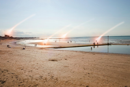 travel features: Beach scene with rays of light,Margate,Kent,UK LANG_EVOIMAGES