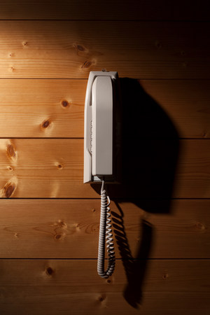 mounted: Phone mounted on wooden wall LANG_EVOIMAGES