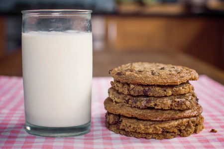 Stack of chocolate chip cookies and milk