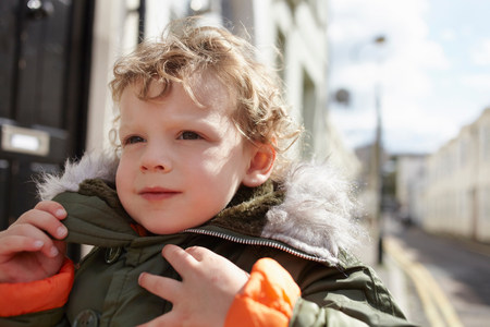 anorak: Little boy outdoors,wearing parka