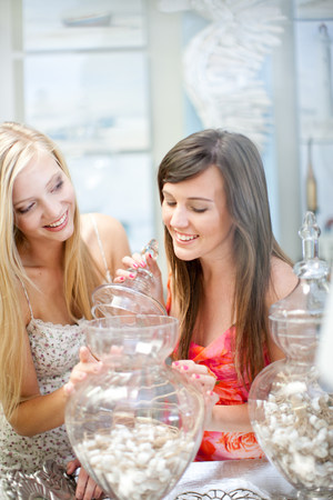 materialism: Women shopping together in store LANG_EVOIMAGES