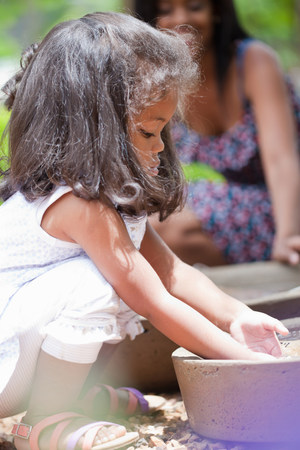 quizzical: Girl playing in planter