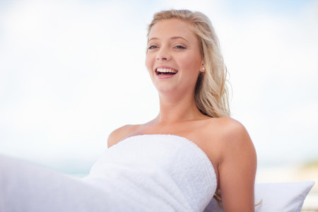 Smiling woman relaxing outdoors