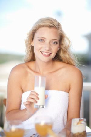 low self esteem: Woman with milk mustache at breakfast