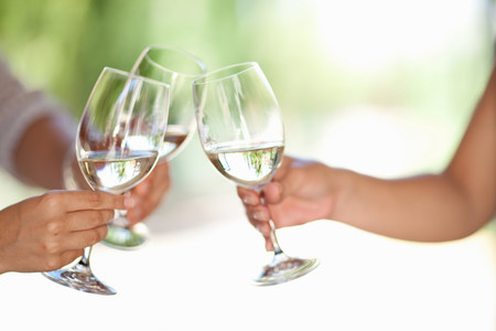Friends toasting with wine outdoors