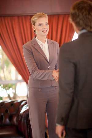 Business people shaking hands in office LANG_EVOIMAGES