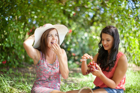 Women picnicking together in park LANG_EVOIMAGES