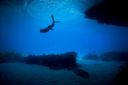free diver: Woman snorkeling in tropical water