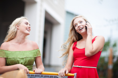 shopping buddies: Woman on cell phone and shopping