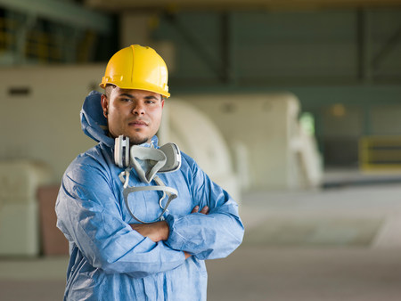 Engineer wearing protective suit on site