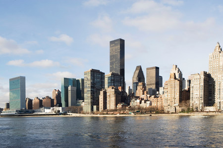 New York City skyline and water