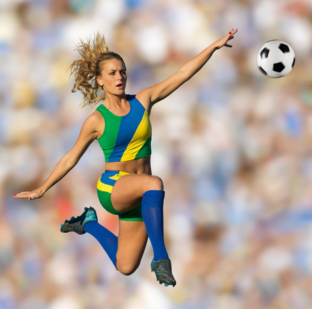 Brazilian soccer player in mid-air