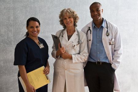 authoritative woman: Portrait of nurse and doctors