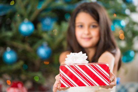 Girl holding Christmas present LANG_EVOIMAGES